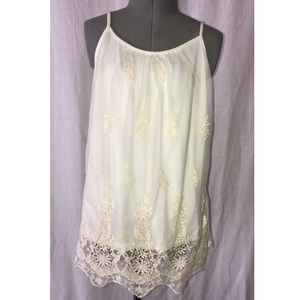 Charming Charlie cream lace tank | S fits like XS